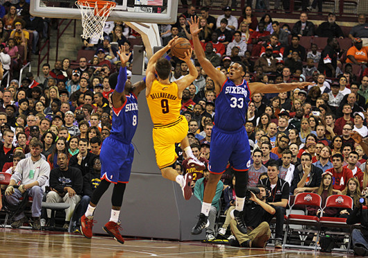 Cleveland Cavalier's guard Matthew Dellavedova (9) forces his way to the basket during a game against the Philadelphia 76ers Oct. 21 at the Schottenstein Center. The Cavaliers won, 104-93. Credit: Shelby Lum / Photo editor