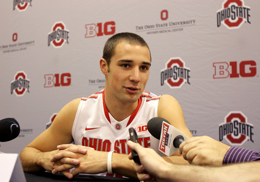 Senior guard Aaron Craft talks to the media during Ohio State media day Oct. 10 at the Schottenstein Center.