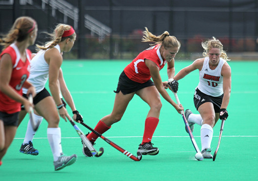 Senior midfielder Mona Frommhold (8) passes the ball during a match against Louisville Oct. 1 at Buckeye Varsity Field. OSU lost, 6-3. Credit: Shelby Lum / Photo editor