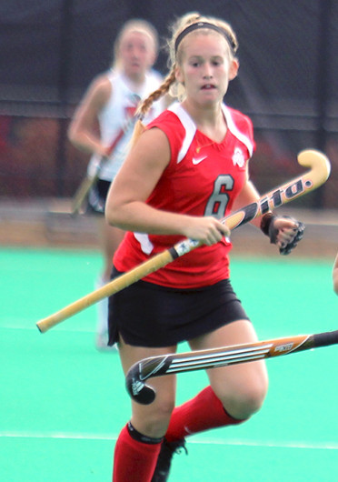 Freshman forward Brooke Hiltz (6) watches a play develop during a game against Louisville Oct. 1 at Buckeye Varsity Field. OSU lost, 6-3. Credit: Shelby Lum / Photo editor