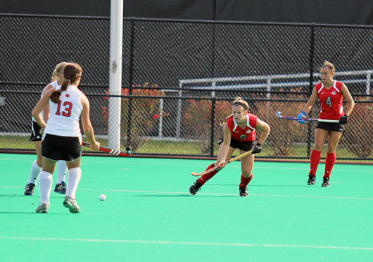 Freshman forward Brooke Hiltz (6) gets set in a defensive position during a game against Louisville Oct. 1 at Buckeye Varsity Field. OSU lost, 6-3. Credit: Shelby Lum / Photo editor