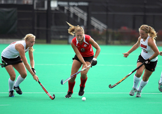 Senior midfielder Mona Frommhold (8) plays the ball forward during a game against Louisville Oct. 1 at Buckeye Varsity Field. OSU lost, 6-3. Credit: Shelby Lum / Photo editor
