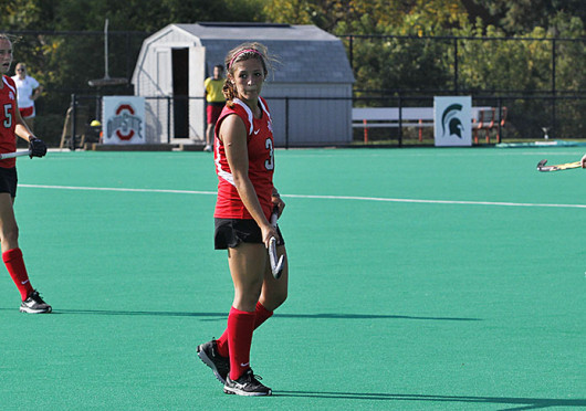 Sophomore midfielder Peanut Johnson (3) watches a play develop during a game against Louisville Oct. 1 at Buckeye Varsity Field. OSU lost, 6-3. Credit: Ritika Shah / Asst. photo editor