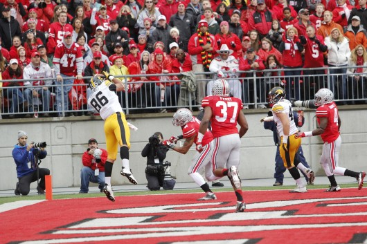 Sophomore linebacker Joshua Perry (37) and junior linebacker Ryan Shazier (2) watch Iowa senior linebacker C.J. Fiedorowicz (86) catch a touchdown during a game Oct. 19 at Ohio Stadium. OSU won, 34-24. Credit: Ritika Shah / Asst. photo editor