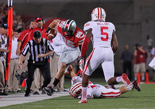 Then-junior tight end Jeff Heuerman (86) is tackled out of bounds during a game against Wisconsin Sept. 28 at Ohio Stadium. OSU won, 31-24. Lantern file photo