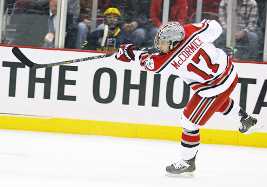 Then-sophomore forward Max McCormick (17) takes a shot during a game against Michigan Feb. 23 at the Schottenstein Center. OSU lost, 6-3. Credit: Shelby Lum / Photo editor