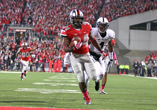 Senior running back Carlos Hyde (34) rushes for a touchdown during a game against Penn State Oct. 26 at Ohio Stadium. OSU won, 63-14. Credit: Shelby Lum / Photo editor