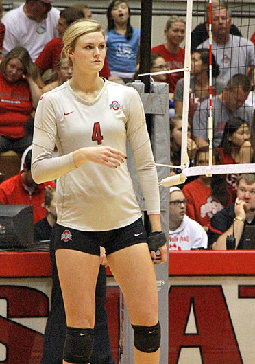 Sophomore middle blocker Andrea Kacsits (4) scans the court during a match against Michigan Sept. 27 at St. John Arena. OSU won, 3-1. Credit: Mark Batke / Lantern photographer