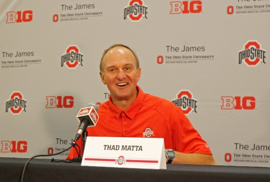 OSU basketball coach Thad Matta laughs as he answers a question during Media Day Oct. 10 at the Jerome Schottenstein Center. Credit: Shelby Lum / Photo editor
