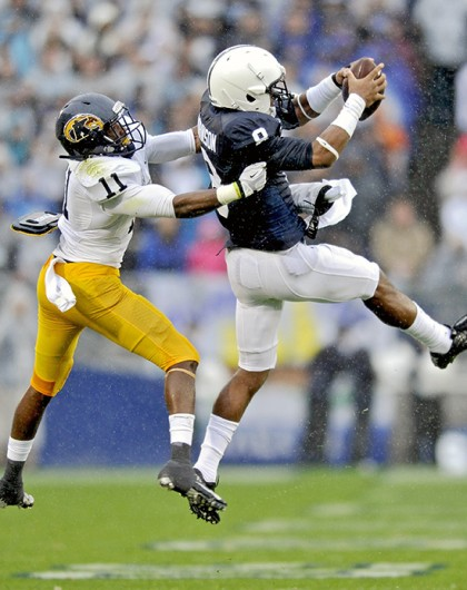 Penn State junior wide receiver Allen Robinson (8) makes a catch during a game against Kent State at Beaver Stadium Sept. 21, 2013. Penn State won, 34-0. Credit: Courtesy of MCT