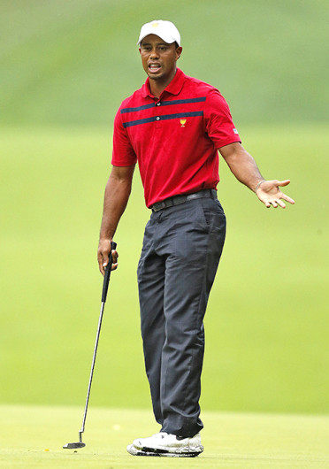 Tiger Woods misses a putt on the 2nd hole during the Presidents Cup at Muirfield Village Golf Club in Dublin, Ohio, Oct. 5. Credit: Courtesy of MCT