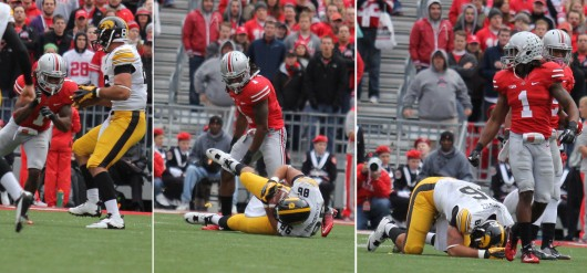 Redshirt-junior Bradley Roby (1) is ejected for a targeting penalty during a game against Iowa Oct. 19 at Ohio Stadium. OSU won, 34-24. Credit: Photo illustration by Shelby Lum