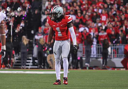 Redshirt-junior cornerback Bradley Roby (1) lines up in coverage during a game against Penn State Oct. 26 at Ohio Stadium. OSU won, 63-14. Credit: Shelby Lum / Photo editor