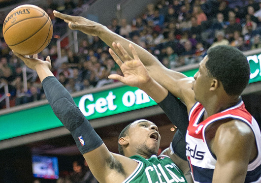 Boston Celtics' forward Jared Sullinger (7) has his shot blocked during a game against the Washington Wizards Nov. 2, 2012, at the Verizon Center. The Celtics won, 89-86. Credit: Courtesy of MCT