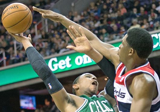 Boston Celtics' forward Jared Sullinger (7) has his shot blocked during a game against the Washington Wizards Nov. 2, 2012, at the Verizon Center. The Celtics won, 89-86. Credit: Courtesy of MCT