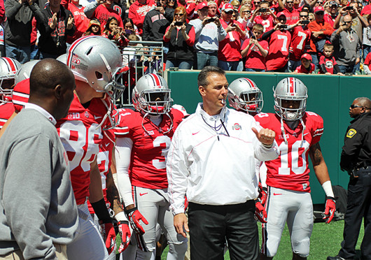 Buckeye football coach Urban Meyer prepares to lead the team out of the tunnel before the OSU Spring Game April 13 at Paul Brown Stadium. Scarlet beat Gray, 31-14. Credit: Lantern file photo