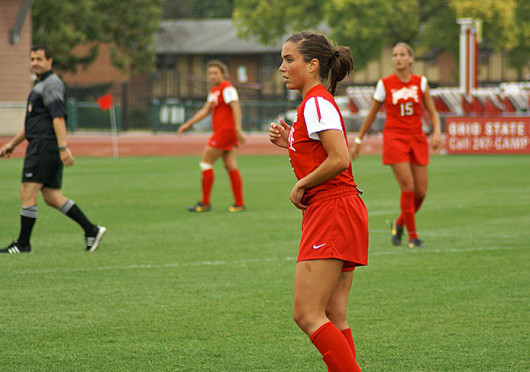 Junior midfielder Ellyn Gruber (5)  watches her teammates during a game against Purdue Sept. 29 at Jesse Owens Memorial Stadium. OSU lost, 1-0. Credit: Michele Theodore / Copy chief