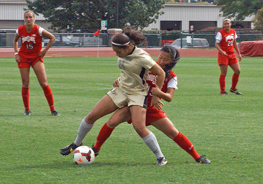 Senior midfielder Danica Wu (19) tries to take the ball during a match against Purdue Sept. 29 at Jesse Owens Memorial Stadium. OSU lost, 1-0. Credit: Michele Theodore / Copy chief