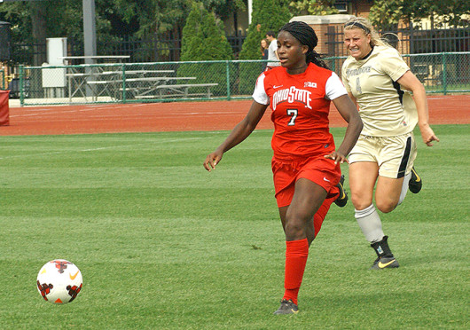Freshman forward Nichelle Prince (7) advances the ball during a game against Purdue Sept. 29 at Jesse Owens Memorial Stadium. OSU lost, 1-0. Credit: Michele Theodore / Copy Chief