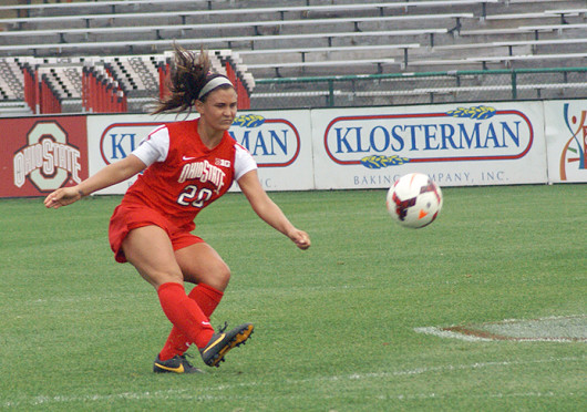 Senior defender Megan Fuller (20) takes a free kick during a match against Purdue Sept. 29 at Jesse Owens Memorial Stadium. OSU lost, 1-0. Credit: Michele Theodore / Copy chief