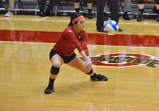 Senior defensive specialist Julianne Mandolfo hits the ball during a match against Nebraska Oct. 25 at St. John Arena. OSU lost, 3-1. Credit: Brandon Klein / Lantern photographer