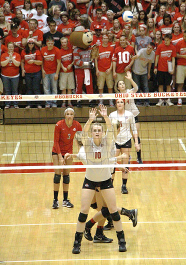 Freshman right side hitter Taylor Sandbothe (10) lines up in front of her teammates during a match against Michigan Sept. 27 at St. John Arena. OSU won, 3-1. Credit: Mark Batke / Lantern photographer