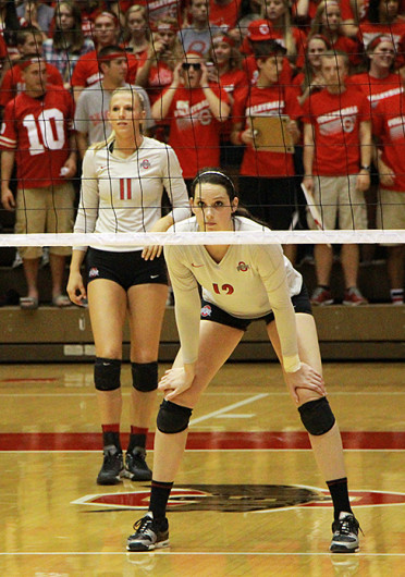 Junior outside hitter Erin Sekinger (12) gets ready for a serve during a match against Michigan Sept. 27 at St. John Arena. OSU won, 3-1. Credit: Mark Batke / Lantern photographer