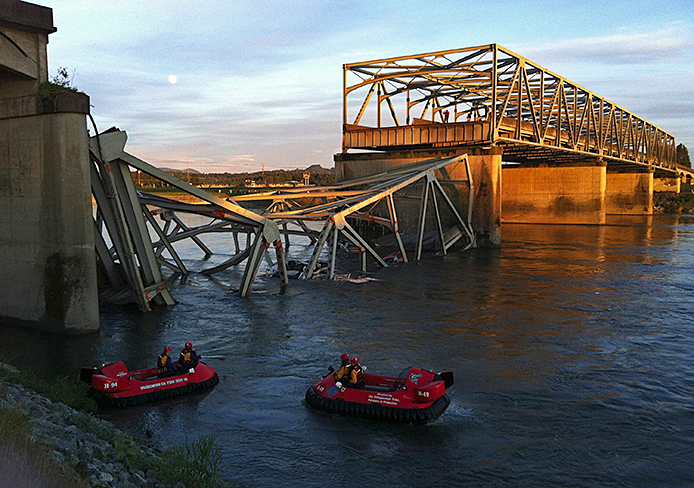 The collapsed bridge where I-5 crosses the Skagit River in Mount Vernon, Wash., May 23.