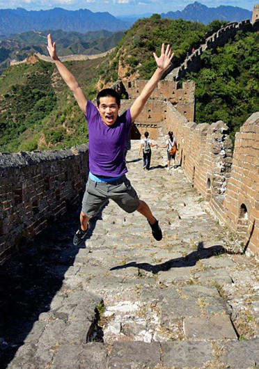 Brian Yeh, a fourth-year in economics, poses while visiting the Great Wall of China during his study abroad trip last academic year.
