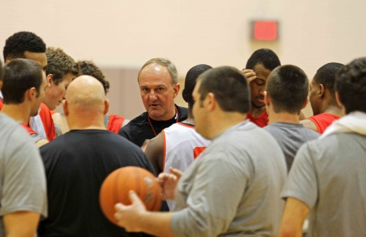 OSU men's basketball coach Thad Matta speaks to the team before practice Friday at the Schottenstein Center. OSU is set to begin its season Saturday against Morgan State. Credit: Shelby Lum / Photo editor