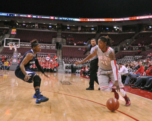 Ohio State junior guard Raven Ferguson (31) dribbles the ball during a game against Old Dominion Nov. 22 at the Schottenstein Center in Columbus, Ohio. OSU won, 75-60.