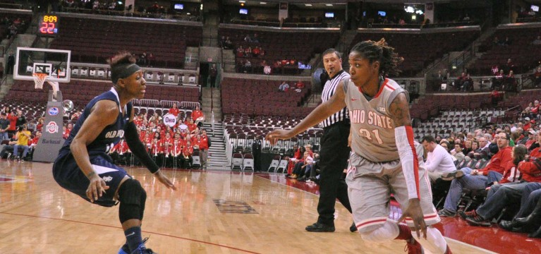 Ohio State junior guard Raven Ferguson (31) dribbles the ball during a game against Old Dominion Nov. 22 at the Schottenstein Center in Columbus, Ohio. OSU won, 75-60. Credit: Lantern file photo