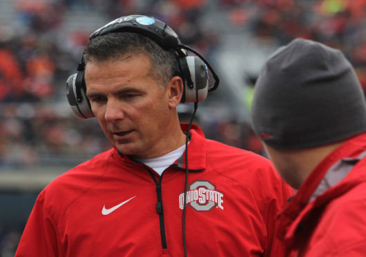 OSU coach Urban Meyer talks on the sidelines during a game against Illinois Nov. 16 at Memorial Stadium. OSU won, 60-35. Credit: Ritika Shah / Asst. photo editor
