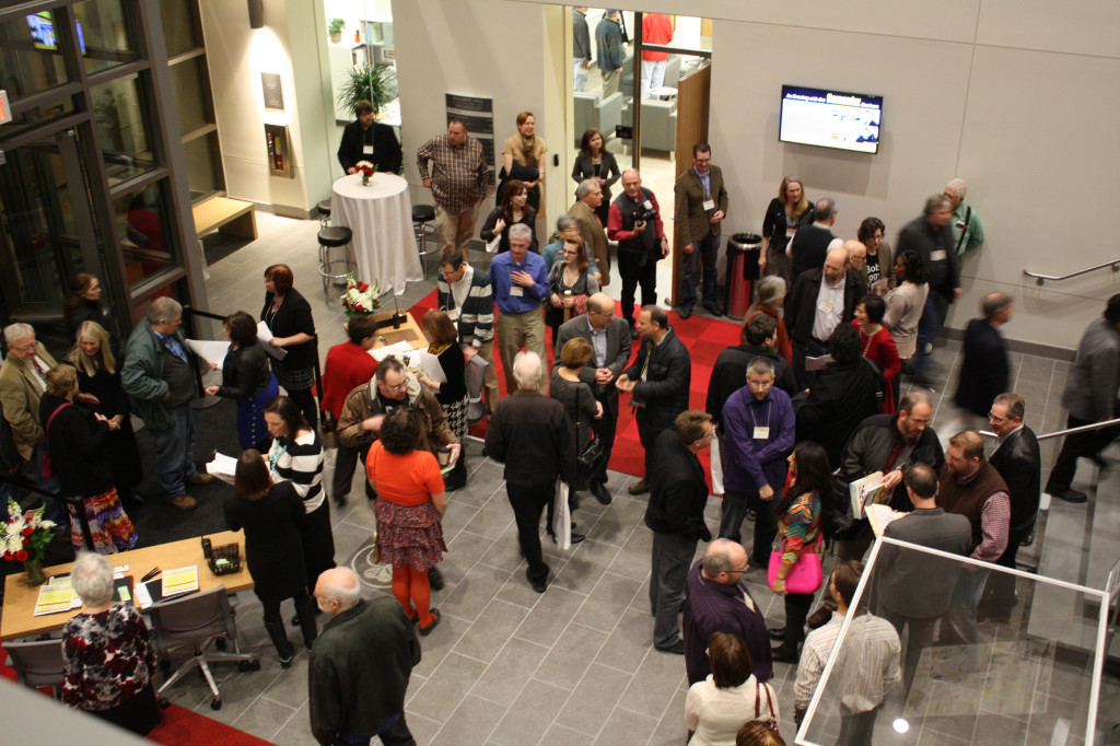 Attendees file into the Sullivant Hall lobby in anticipation of the grand opening ceremony of the Billy Ireland Cartoon Library and Museum Nov. 15. Credit: Matthew Lovett / Lantern photographer