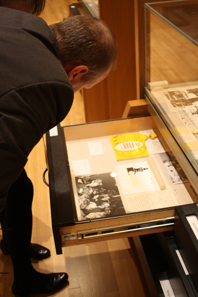 Pittsburgh-based cartoonist Rob Rogers observes some of the archived works at the Billy Ireland Cartoon Library and Museum in its new space in Sulllivant Hall during its grand opening Nov. 15. Credit: Matthew Lovett / Lantern photographer