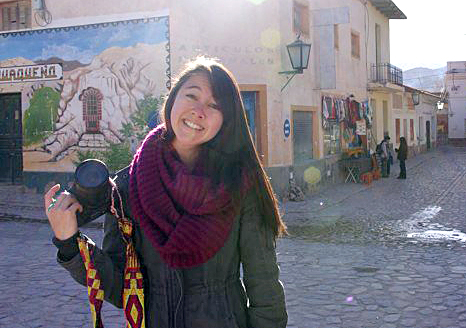 Shelby Lum stands in the city square in Humahuaca, Argentina during her winter break in July 2012.
