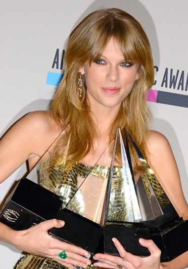 Taylor Swift poses in the press room at the 2013 American Music Awards Nov. 24, 2013 in Los Angeles. The singer won four of her five nominations. Credit: Courtesy of MCT