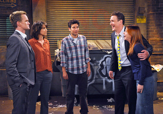 Barney (Neil Patrick Harris, left), Robin (Cobie Smulders) Ted (Josh Radnor) Marshall (Jason Segel) and Lily (Alyson Hannigan) talking in a scene from CBS' 'How I Met Your Mother.' CBS recently confirmed a pilot will be shot for a spin-off of the show titled 'How I Met Your Dad.' Credit: Courtesy of Ron P. Jaffe / CBS