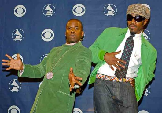 Big Boi, left, and Andre of OutKast pose at the 46th Annual Grammy Awards Feb. 8, 2004. Rumors have been going around that the group might reunite in 2014 for the Coachella Festival.  Credit: Courtesy of MCT