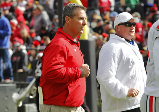 Coach Urban Meyer stands on the sidelines at the game against Purdue. OSU won, 56-0. Credit: Ritika Shah / Asst. photo editor