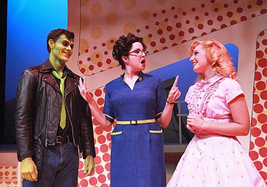 Trent Rowland as Jonny (left), Liz Light as Miss Delilah Strict, and Kelly Hogan as Toffee in the OSU Department of Theatre's production of 'Zombie Prom,' which is set to begin production Nov. 7 at Thurber Theatre. Credit: Courtesy of Matt Hazard