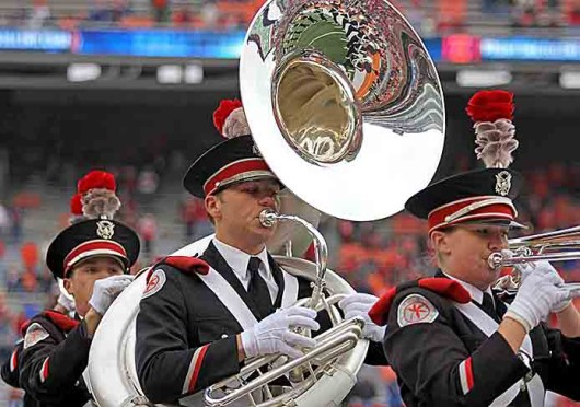 The OSU Marching Band performs during halftime at an OSU football game against Illinois Nov. 16. OSU won, 60-35. Credit: Shelby Lum / Photo editor