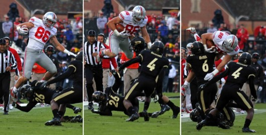 Junior tight end, Jeff Heuerman (86), attempts to jump over Purdue players. OSU won against Purdue, 56-0, Nov. 2 at Ross-Ade Stadium. Credit: Shelby Lum / Photo editor