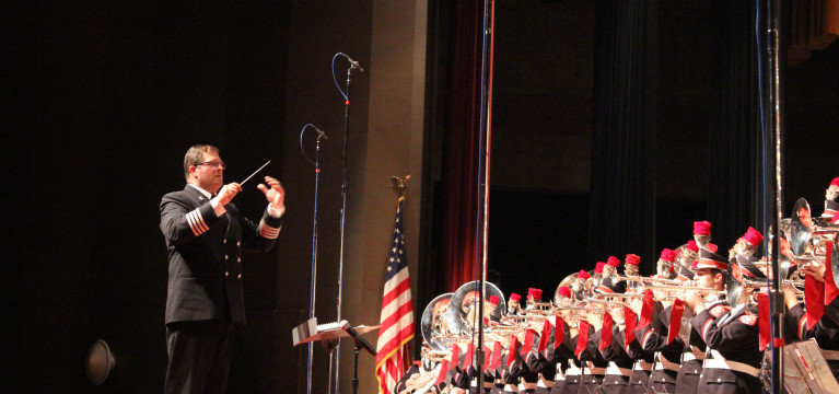 Then-OSU Marching Band director Jon Waters conducts a concert at Veteran Memorial Auditorium Nov. 10. Credit: Lantern file photo
