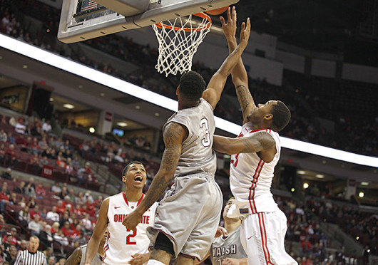 Junior center Amir Williams (23) attempts a lay up during an exhibition game against Walsh Nov. 3 at the Schottenstein Center. OSU won, 93-63. Credit: Kelly Roderick / For The Lantern