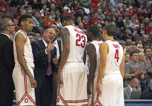 OSU coach Thad Matta lectures his players during a game against Ohio Nov. 12 at the Schottenstein Center. OSU won, 79-69. Credit: Ritika Shah / Asst. photo editor