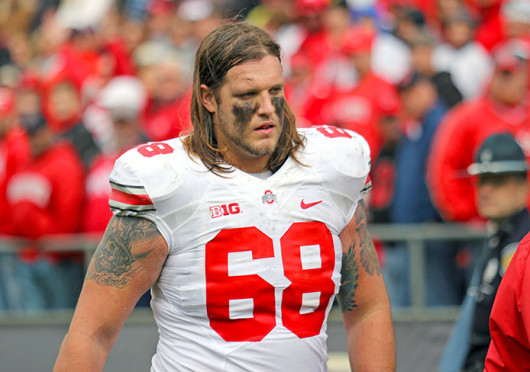Sophomore right tackle Taylor Decker (68) walks back to the locker room after injuring his right knee during a game against Purdue Nov. 2 at Ross-Ade Stadium. OSU won, 56-0. Credit: Shelby Lum / Photo editor