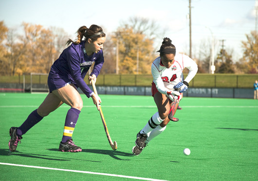 Senior midfielder Arielle Cowie (24) advances the ball during the first round of the Big Ten Tournament against Northwestern Nov. 7 at Buckeye Varsity Field. OSU won, 3-2. Credit: Kelly Roderick / For The Lantern