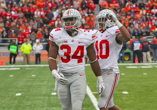Senior running back Carlos Hyde (34) walks of the field during a game against Illinois Nov. 16 at Memorial Stadium. OSU won, 60-35. Credit: Ritika Shah / Asst. photo editor
