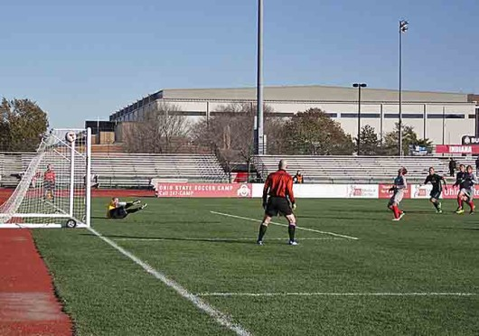 Senior defender Sage Gardner misses a penalty kick during a match against Michigan State in the first round of the Big Ten Tournament Nov. 13 at Jesse Owens Memorial Stadium. OSU lost, 2-0. Credit: Elizabeth Dickey / Lantern photographer